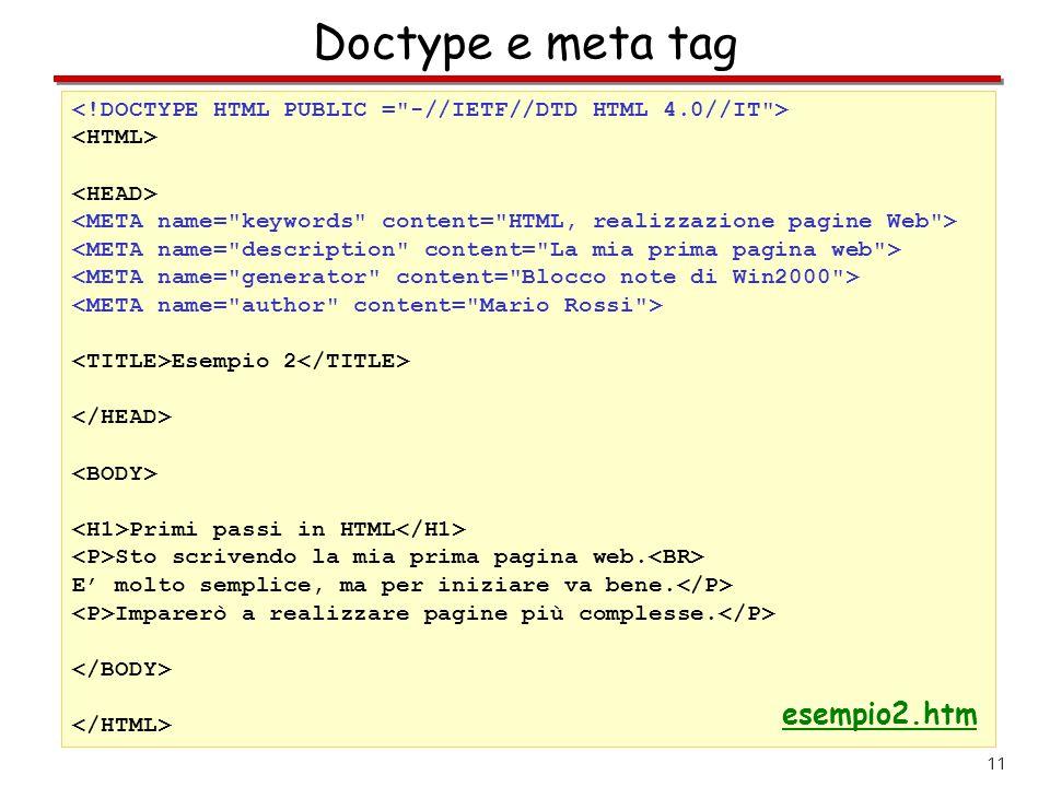 11 Doctype e meta tag Esempio 2 Primi passi in HTML Sto scrivendo la mia prima pagina web. E' molto semplice, ma per iniziare va bene. Imparerò a real