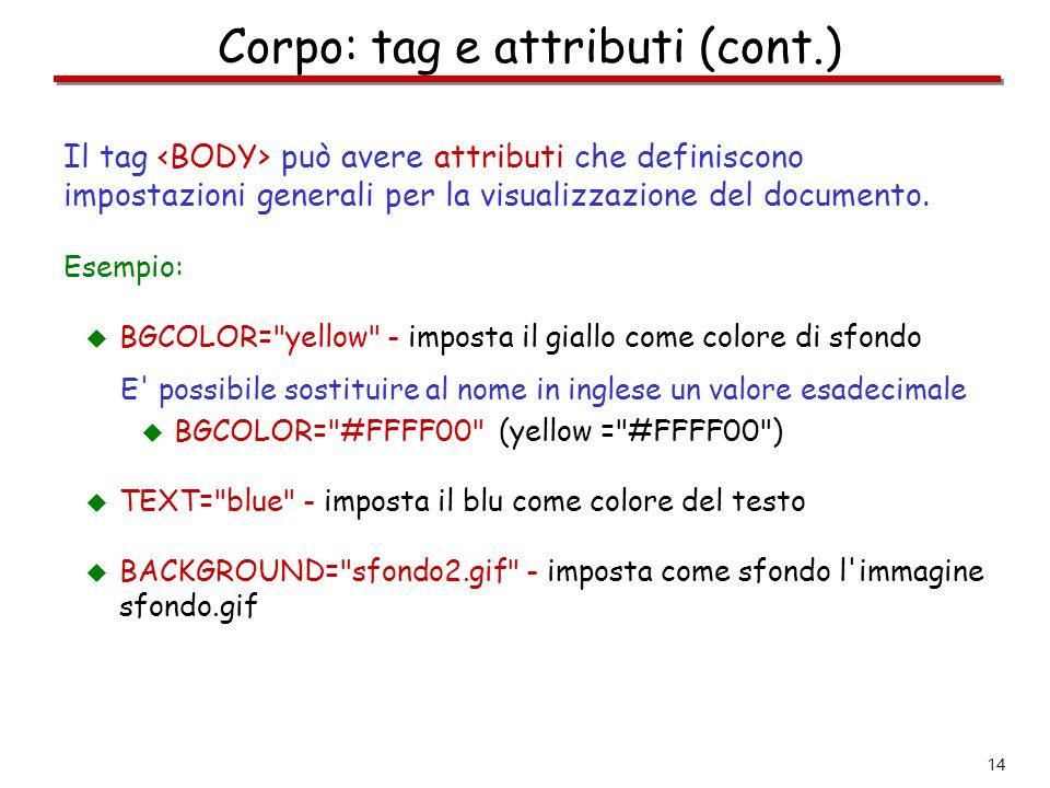 14 Corpo: tag e attributi (cont.) Il tag può avere attributi che definiscono impostazioni generali per la visualizzazione del documento. Esempio:  BG