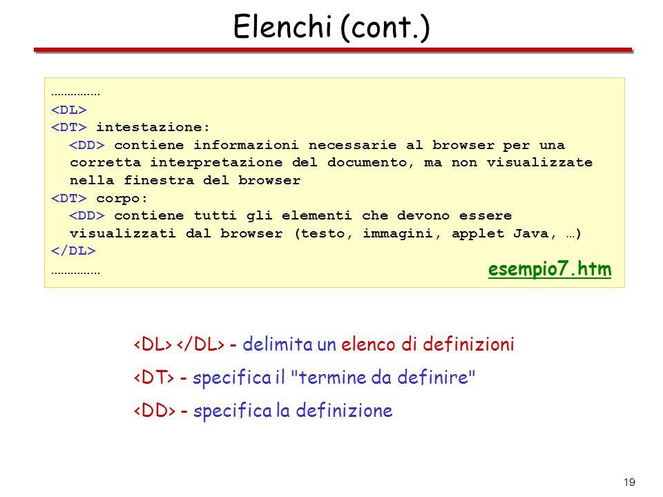 19 Elenchi (cont.) …………… intestazione: contiene informazioni necessarie al browser per una corretta interpretazione del documento, ma non visualizzate