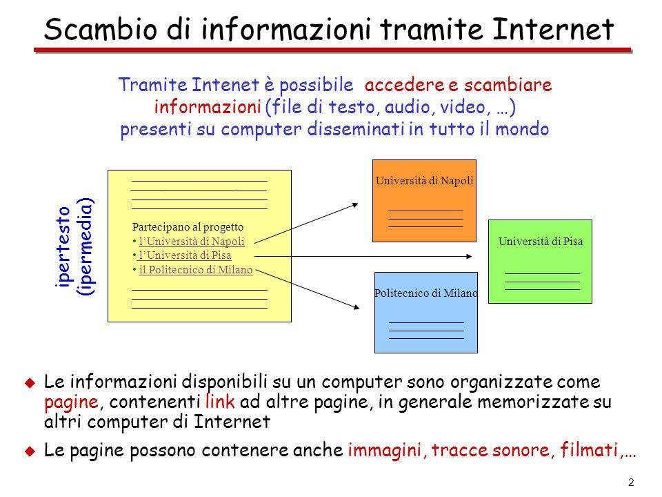 2 Scambio di informazioni tramite Internet Tramite Intenet è possibile accedere e scambiare informazioni (file di testo, audio, video, …) presenti su