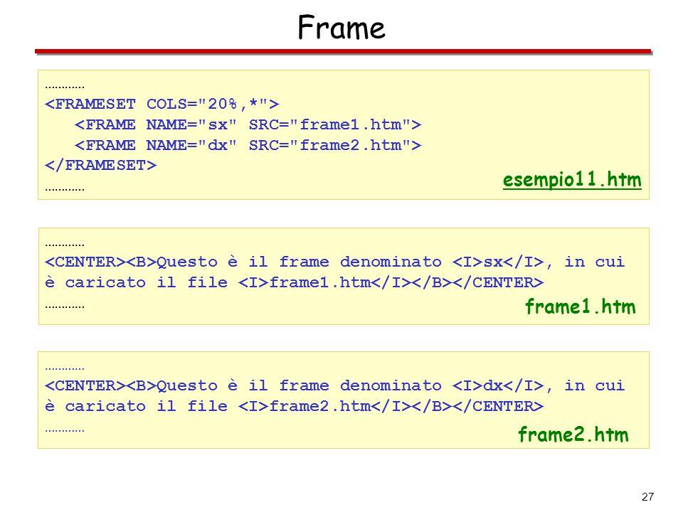 27 Frame ………… ………… Questo è il frame denominato sx, in cui è caricato il file frame1.htm ………… esempio11.htm ………… Questo è il frame denominato dx, in c