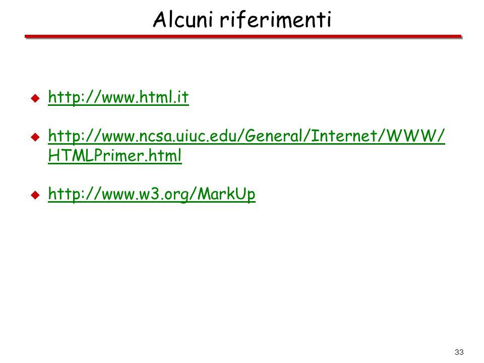 33 Alcuni riferimenti  http://www.html.it http://www.html.it  http://www.ncsa.uiuc.edu/General/Internet/WWW/ HTMLPrimer.html  http://www.w3.org/Mar