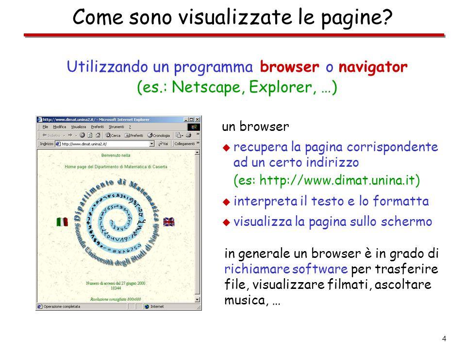 4 Come sono visualizzate le pagine? Utilizzando un programma browser o navigator (es.: Netscape, Explorer, …) un browser  recupera la pagina corrispo