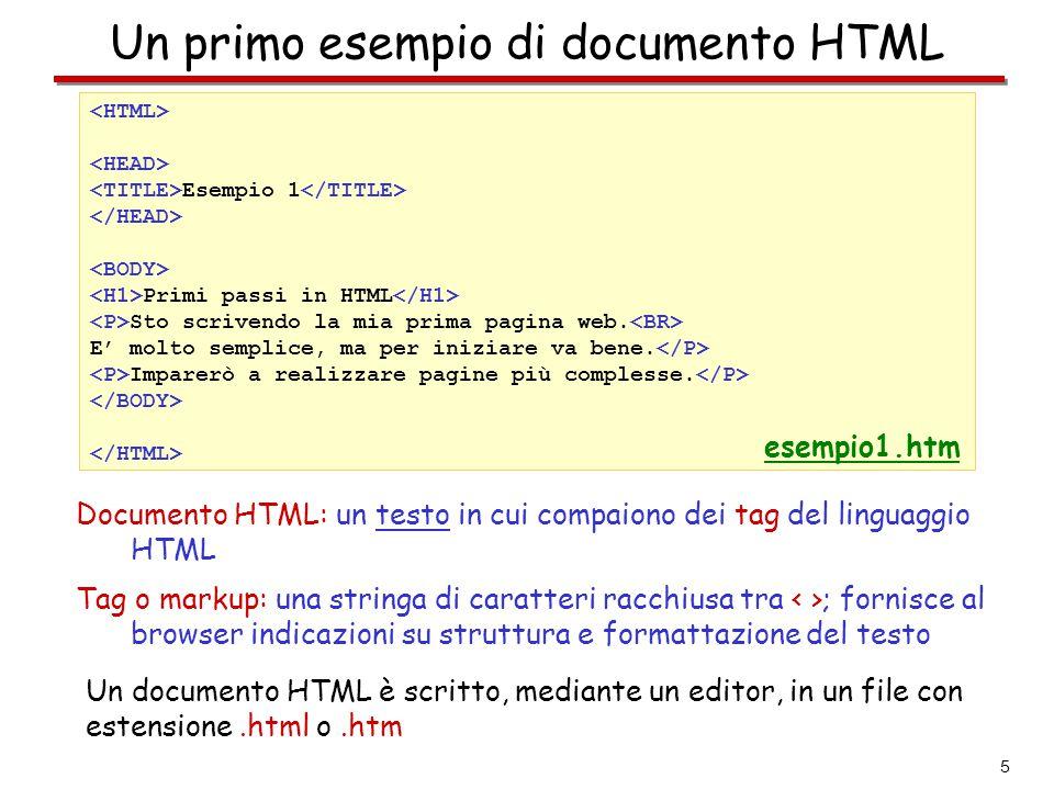 6 I primi tag - indicano al browser che il file contiene un documento HTML - delimitano la parte del documento HTML che contiene il titolo - delimitano il titolo del documento HTML  il titolo è una sorta di identificativo del documento (compare nelle liste di bookmark, è ustato dai motori di ricerca, …)  è visualizzato nella barra superiore della finestra del browser e non all'interno della finestra stessa