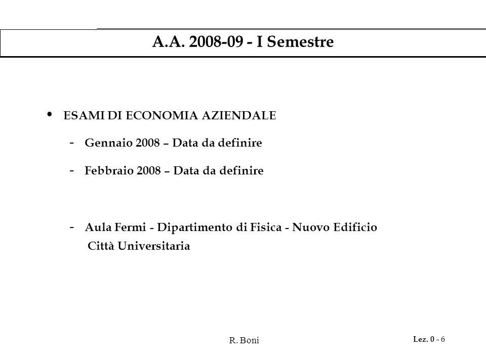 R. Boni Lez. 0 - 6 A.A. 2008-09 - I Semestre ESAMI DI ECONOMIA AZIENDALE - Gennaio 2008 – Data da definire - Febbraio 2008 – Data da definire - Aula F