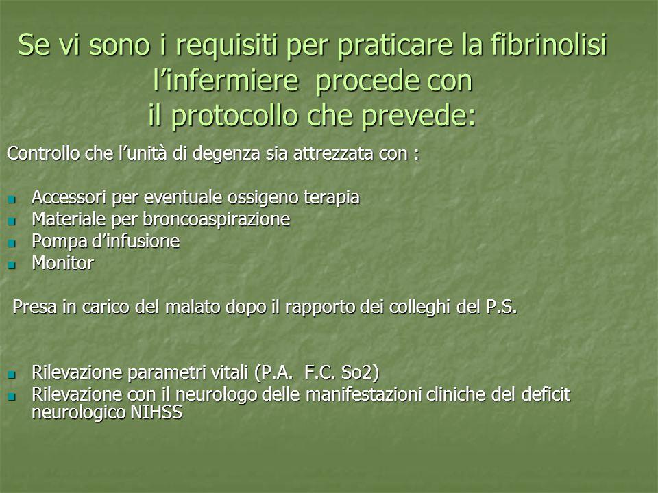 Se vi sono i requisiti per praticare la fibrinolisi l'infermiere procede con il protocollo che prevede: Controllo che l'unità di degenza sia attrezzat