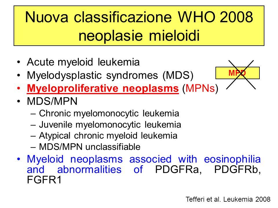 Nuova classificazione WHO 2008 neoplasie mieloidi Acute myeloid leukemia Myelodysplastic syndromes (MDS) Myeloproliferative neoplasms (MPNs) MDS/MPN –