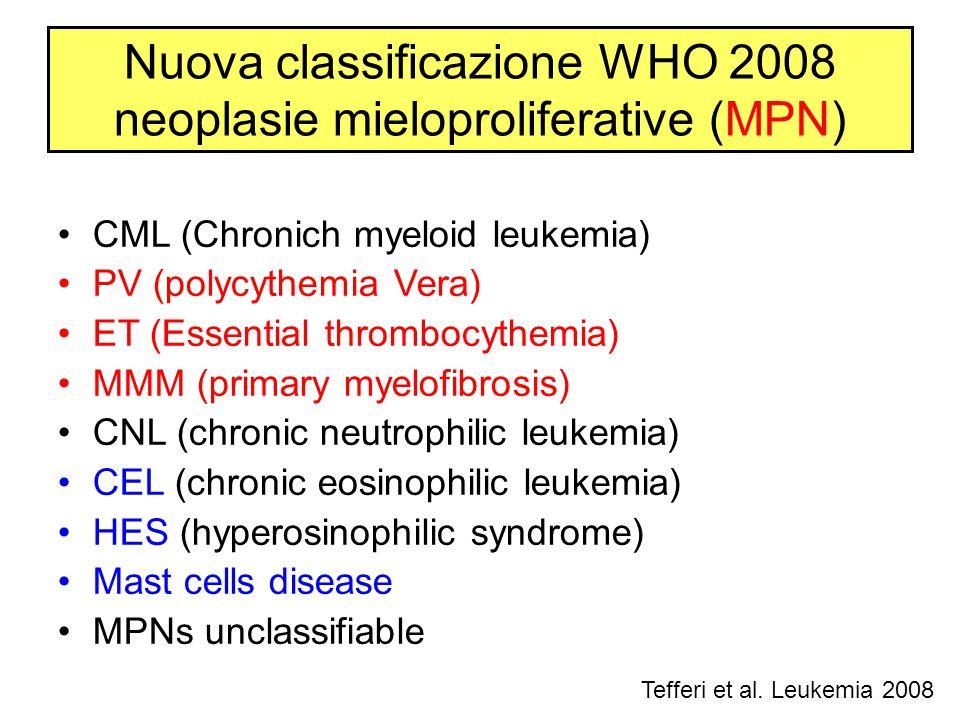 CML (Chronich myeloid leukemia) PV (polycythemia Vera) ET (Essential thrombocythemia) MMM (primary myelofibrosis) CNL (chronic neutrophilic leukemia)