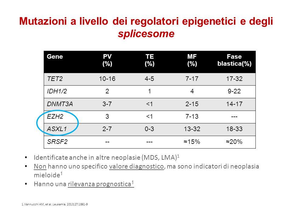 Mutazioni a livello dei regolatori epigenetici e degli splicesome GenePV (%) TE (%) MF (%) Fase blastica(%) TET210-164-57-1717-32 IDH1/22149-22 DNMT3A