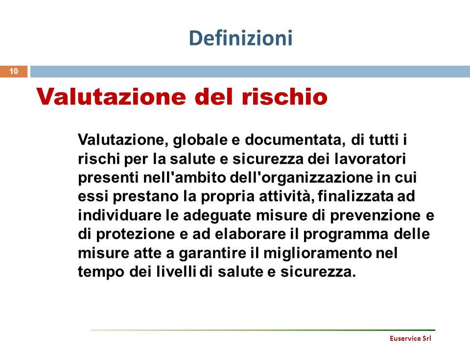Definizioni 10 Valutazione del rischio Valutazione, globale e documentata, di tutti i rischi per la salute e sicurezza dei lavoratori presenti nell'am