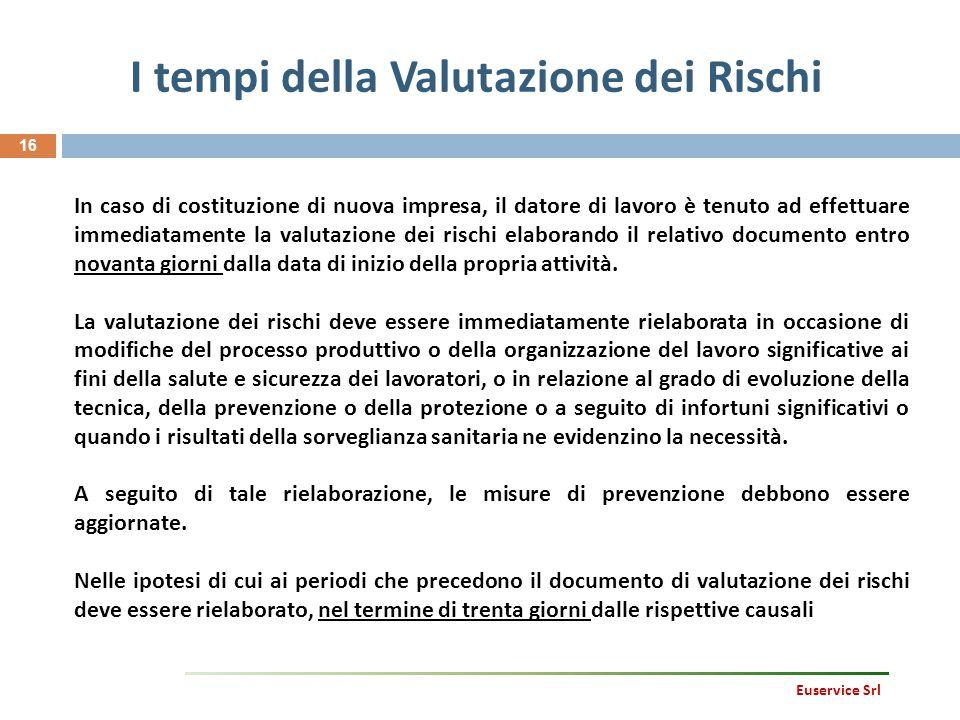 I tempi della Valutazione dei Rischi 16 In caso di costituzione di nuova impresa, il datore di lavoro è tenuto ad effettuare immediatamente la valutaz