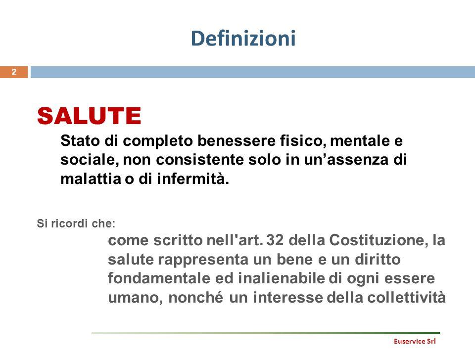 Definizioni 3 Euservice Srl DANNO Una qualunque alterazione, transitoria o permanente, dell organismo, di una sua parte o di una sua funzione Esempi: - una frattura - la perdita di una mano - un infezione delle vie urinarie - la silicosi - una gastrite da stress