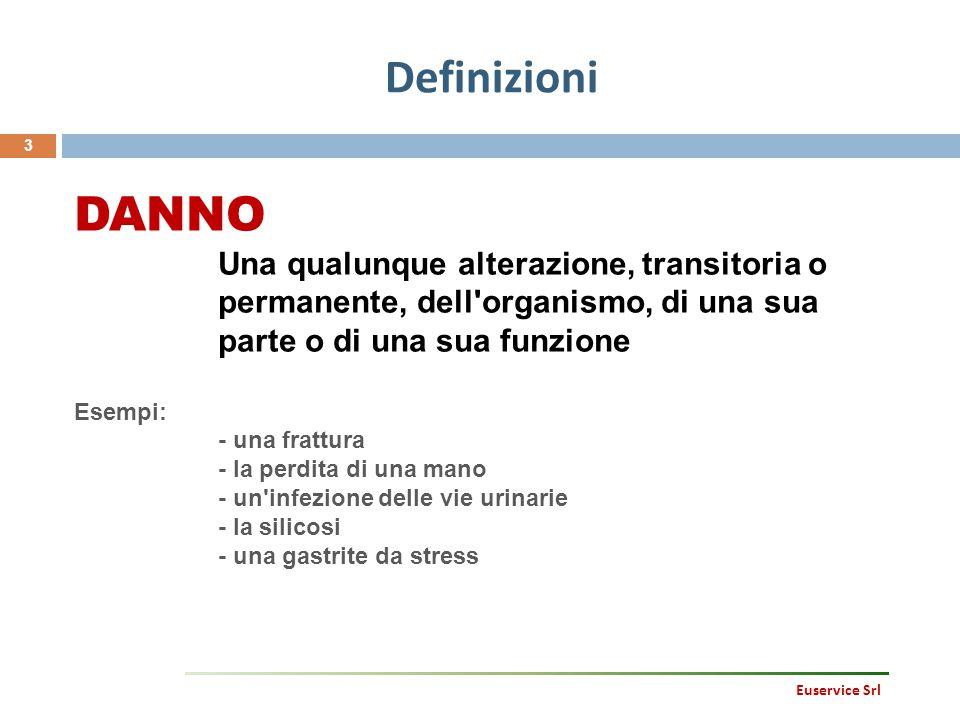 Definizioni 3 Euservice Srl DANNO Una qualunque alterazione, transitoria o permanente, dell'organismo, di una sua parte o di una sua funzione Esempi: