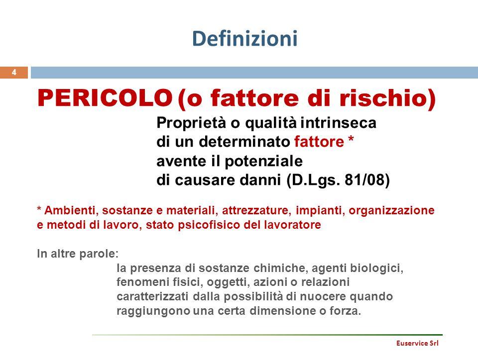 Definizioni 5 Euservice Srl RISCHIO Probabilità che sia raggiunto il limite potenziale di danno nelle condizioni di impiego o di esposizione ad un determinato fattore o agente, oppure alla loro combinazione (D.Lgs.