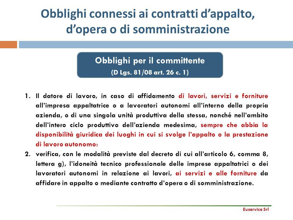 Obblighi connessi ai contratti d'appalto, d'opera o di somministrazione 44 1.Il datore di lavoro, in caso di affidamento di lavori, servizi e fornitur