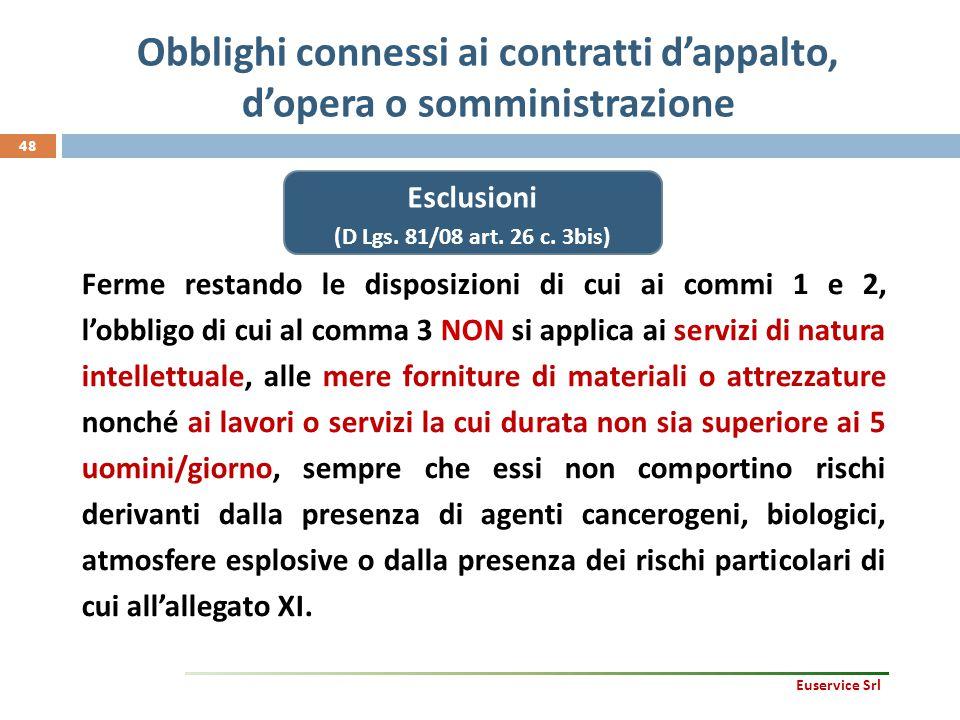 48 Ferme restando le disposizioni di cui ai commi 1 e 2, l'obbligo di cui al comma 3 NON si applica ai servizi di natura intellettuale, alle mere forn
