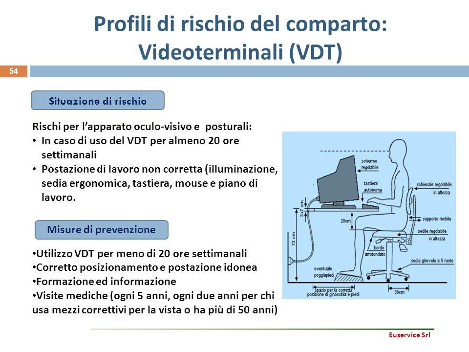 54 Profili di rischio del comparto: Videoterminali (VDT) Rischi per l'apparato oculo-visivo e posturali: In caso di uso del VDT per almeno 20 ore sett