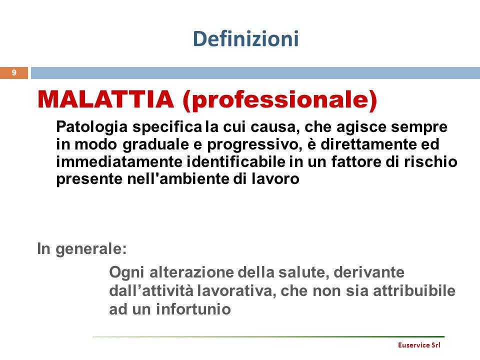 Definizioni 9 Euservice Srl MALATTIA (professionale) Patologia specifica la cui causa, che agisce sempre in modo graduale e progressivo, è direttament