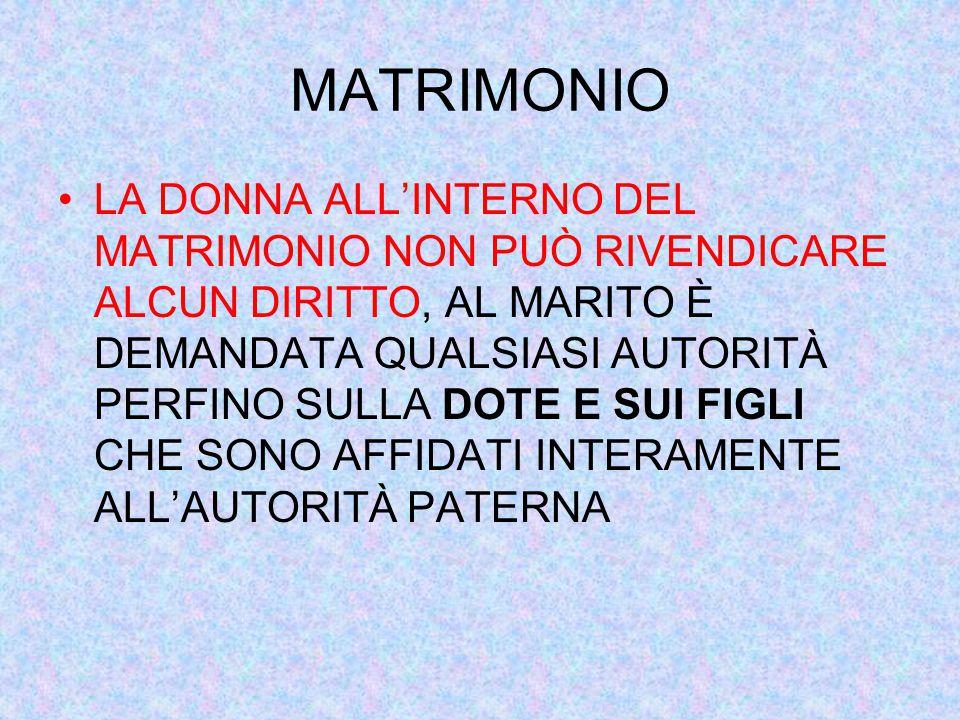 MATRIMONIO LA DONNA ALL'INTERNO DEL MATRIMONIO NON PUÒ RIVENDICARE ALCUN DIRITTO, AL MARITO È DEMANDATA QUALSIASI AUTORITÀ PERFINO SULLA DOTE E SUI FIGLI CHE SONO AFFIDATI INTERAMENTE ALL'AUTORITÀ PATERNA