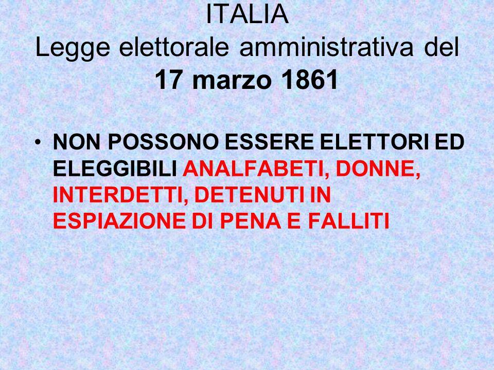 ITALIA Legge elettorale amministrativa del 17 marzo 1861 NON POSSONO ESSERE ELETTORI ED ELEGGIBILI ANALFABETI, DONNE, INTERDETTI, DETENUTI IN ESPIAZIONE DI PENA E FALLITI