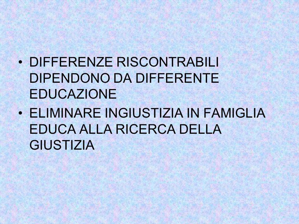 DIFFERENZE RISCONTRABILI DIPENDONO DA DIFFERENTE EDUCAZIONE ELIMINARE INGIUSTIZIA IN FAMIGLIA EDUCA ALLA RICERCA DELLA GIUSTIZIA