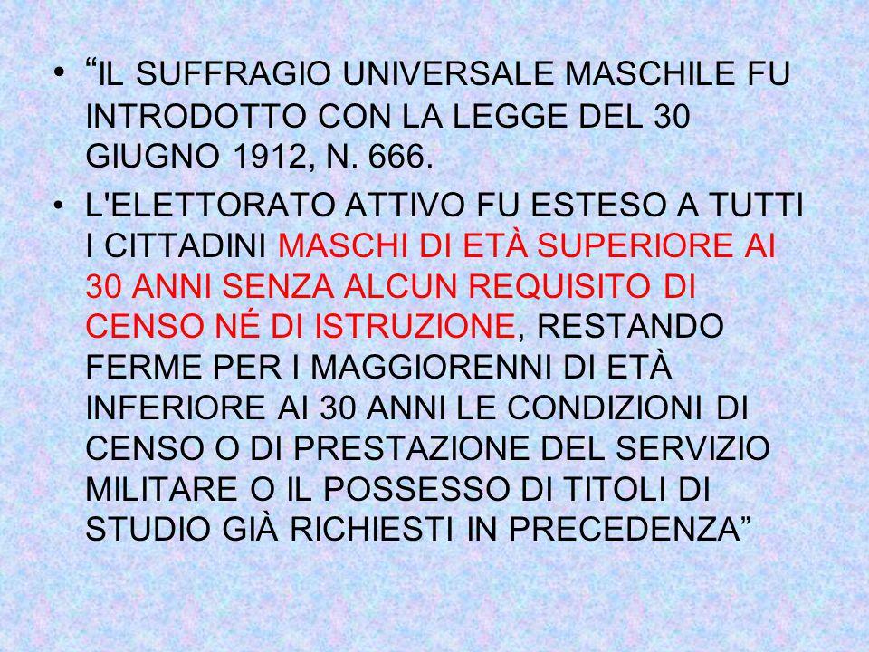 IL SUFFRAGIO UNIVERSALE MASCHILE FU INTRODOTTO CON LA LEGGE DEL 30 GIUGNO 1912, N.