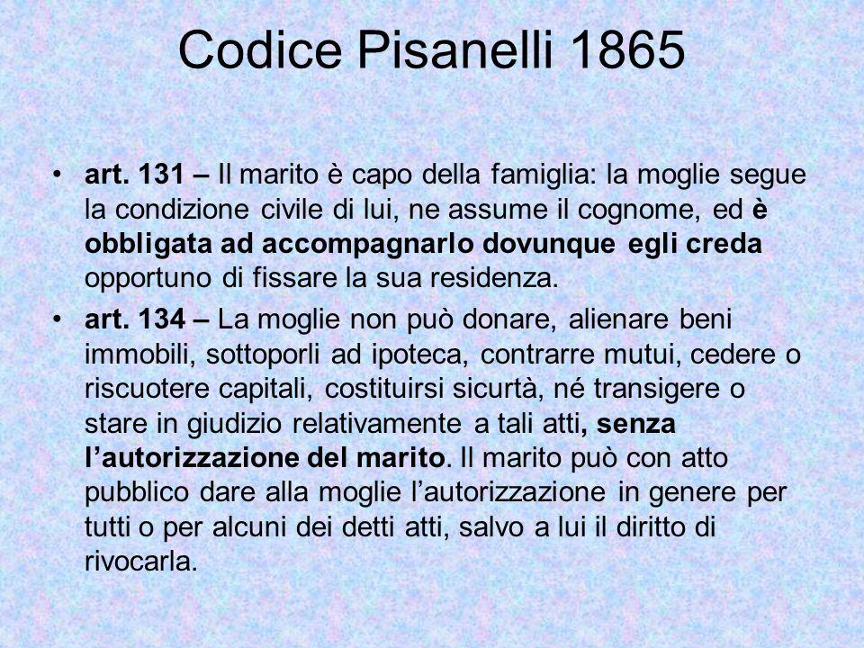 Codice Pisanelli 1865 art.