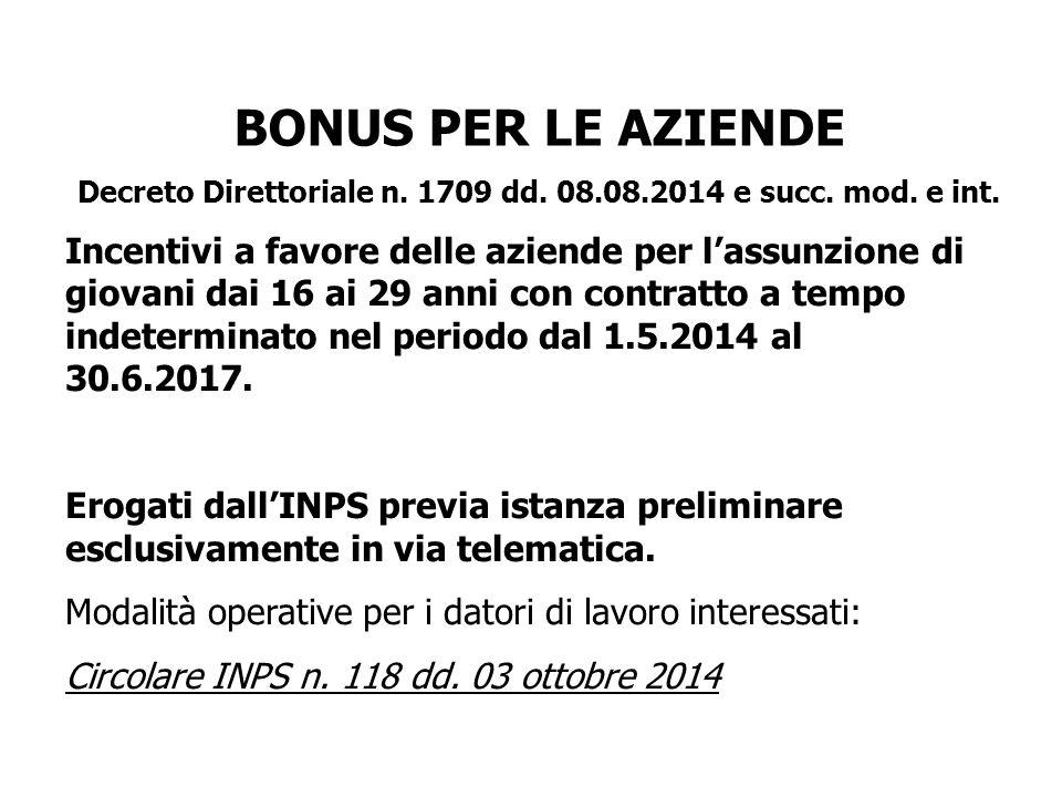 BONUS PER LE AZIENDE Decreto Direttoriale n.1709 dd.