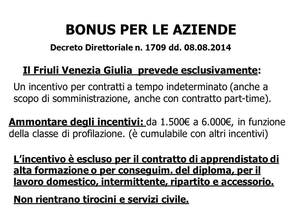 BONUS PER LE AZIENDE Decreto Direttoriale n. 1709 dd. 08.08.2014 Un incentivo per contratti a tempo indeterminato (anche a scopo di somministrazione,
