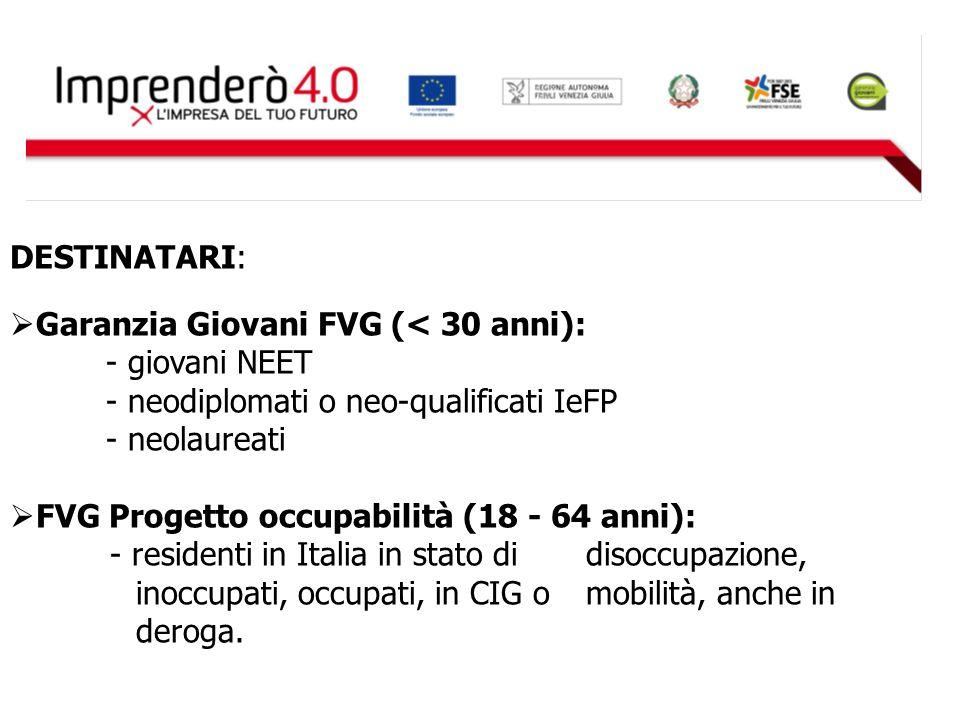 DESTINATARI:  Garanzia Giovani FVG (< 30 anni): - giovani NEET - neodiplomati o neo-qualificati IeFP - neolaureati  FVG Progetto occupabilità (18 -