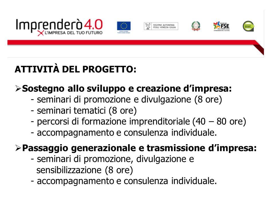 ATTIVITÀ DEL PROGETTO:  Sostegno allo sviluppo e creazione d'impresa: - seminari di promozione e divulgazione (8 ore) - seminari tematici (8 ore) - p