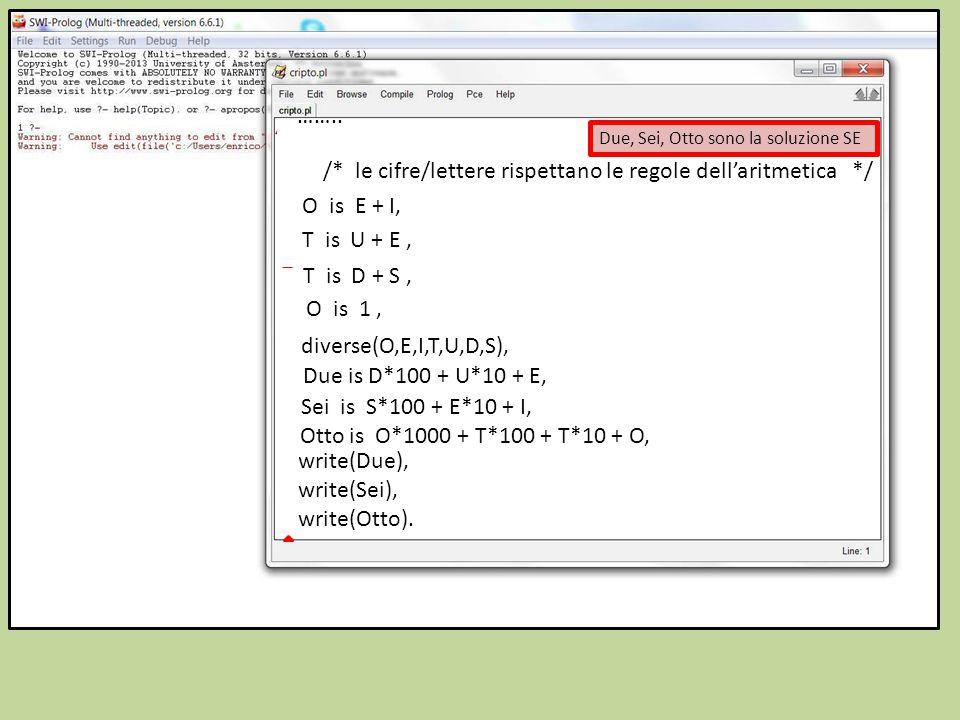 /* le cifre/lettere rispettano le regole dell'aritmetica */ O is E + I, T is U + E, T is D + S, O is 1, diverse(O,E,I,T,U,D,S), ……..