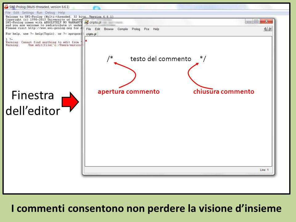 I commenti consentono non perdere la visione d'insieme /* testo del commento */ apertura commentochiusura commento Finestra dell'editor