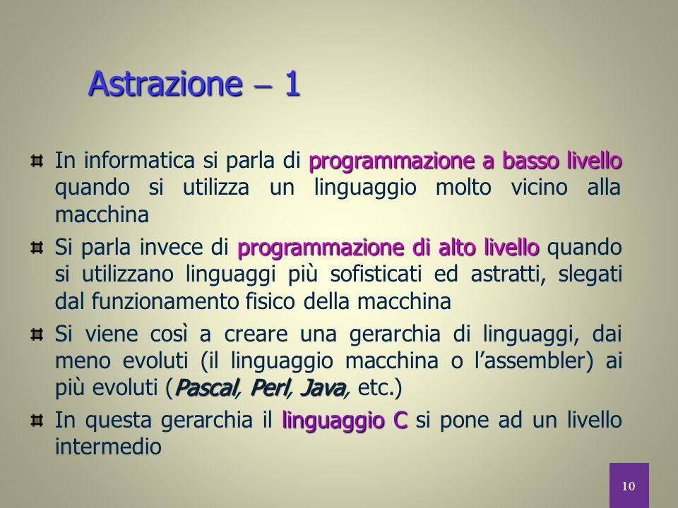 10 Astrazione  1 programmazione a basso livello In informatica si parla di programmazione a basso livello quando si utilizza un linguaggio molto vici