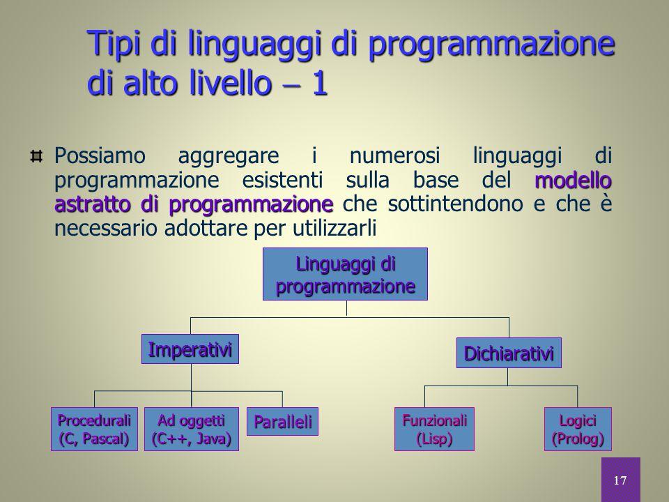 17 modello astratto di programmazione Possiamo aggregare i numerosi linguaggi di programmazione esistenti sulla base del modello astratto di programma