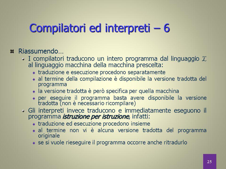 25 Compilatori ed interpreti – 6 Riassumendo… I compilatori traducono un intero programma dal linguaggio L al linguaggio macchina della macchina presc