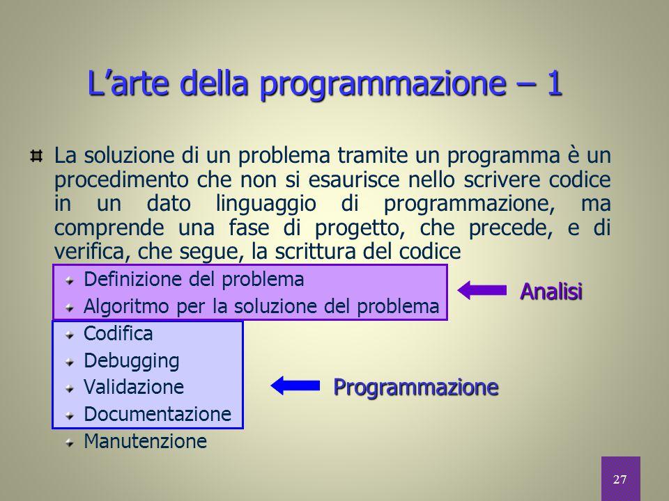 27 L'arte della programmazione – 1 La soluzione di un problema tramite un programma è un procedimento che non si esaurisce nello scrivere codice in un