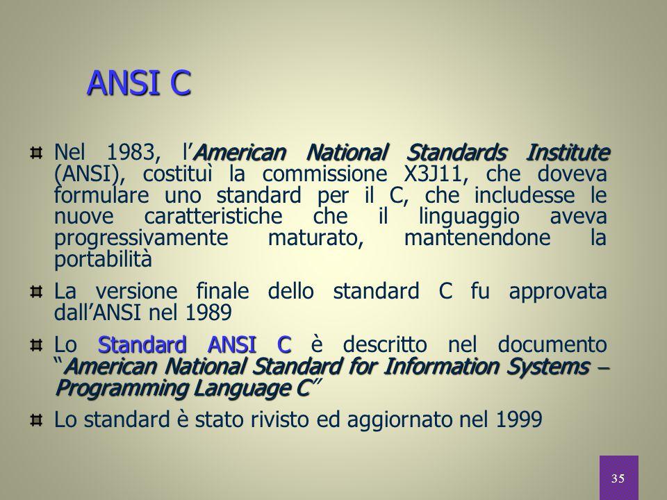 35 American National Standards Institute Nel 1983, l'American National Standards Institute (ANSI), costituì la commissione X3J11, che doveva formulare