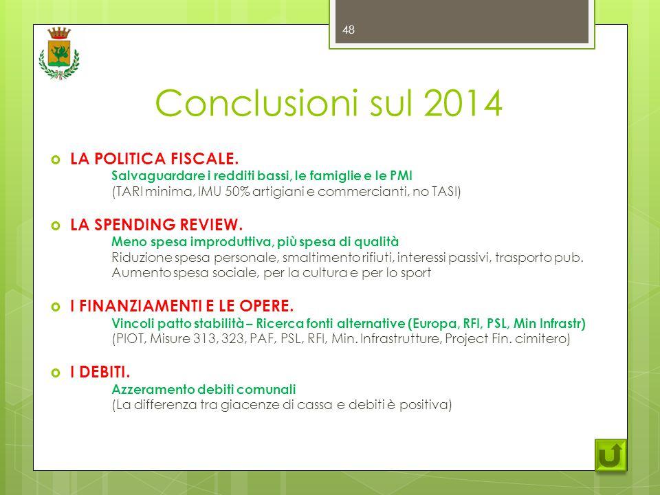 Conclusioni sul 2014  LA POLITICA FISCALE.