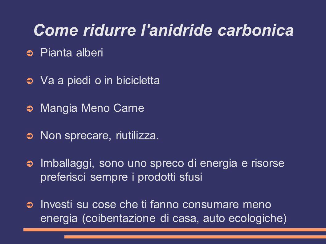 Come ridurre l anidride carbonica ➲ Pianta alberi ➲ Va a piedi o in bicicletta ➲ Mangia Meno Carne ➲ Non sprecare, riutilizza.