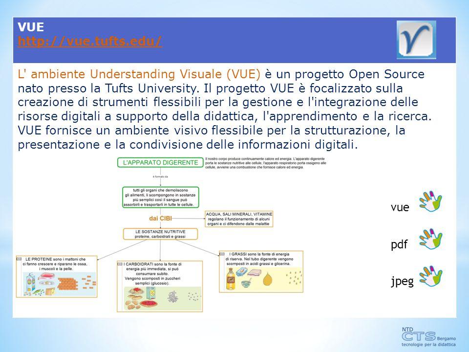 VUE http://vue.tufts.edu/ L ambiente Understanding Visuale (VUE) è un progetto Open Source nato presso la Tufts University.