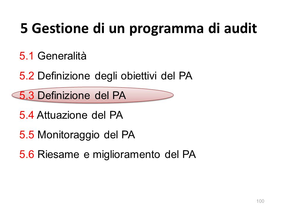 5 Gestione di un programma di audit 100 5.1 Generalità 5.2 Definizione degli obiettivi del PA 5.3 Definizione del PA 5.4 Attuazione del PA 5.5 Monitoraggio del PA 5.6 Riesame e miglioramento del PA