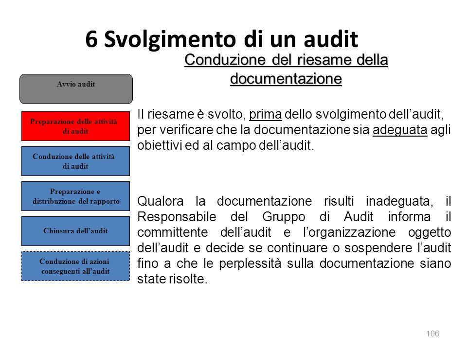 6 Svolgimento di un audit 106 Conduzione del riesame della documentazione Il riesame è svolto, prima dello svolgimento dell'audit, per verificare che la documentazione sia adeguata agli obiettivi ed al campo dell'audit.