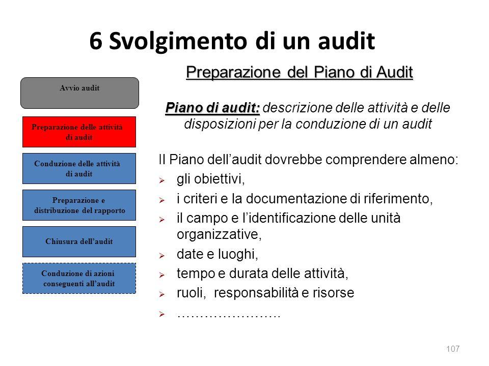 6 Svolgimento di un audit 107 Preparazione del Piano di Audit Piano di audit: Piano di audit: descrizione delle attività e delle disposizioni per la conduzione di un audit Il Piano dell'audit dovrebbe comprendere almeno:  gli obiettivi,  i criteri e la documentazione di riferimento,  il campo e l'identificazione delle unità organizzative,  date e luoghi,  tempo e durata delle attività,  ruoli, responsabilità e risorse  …………………..