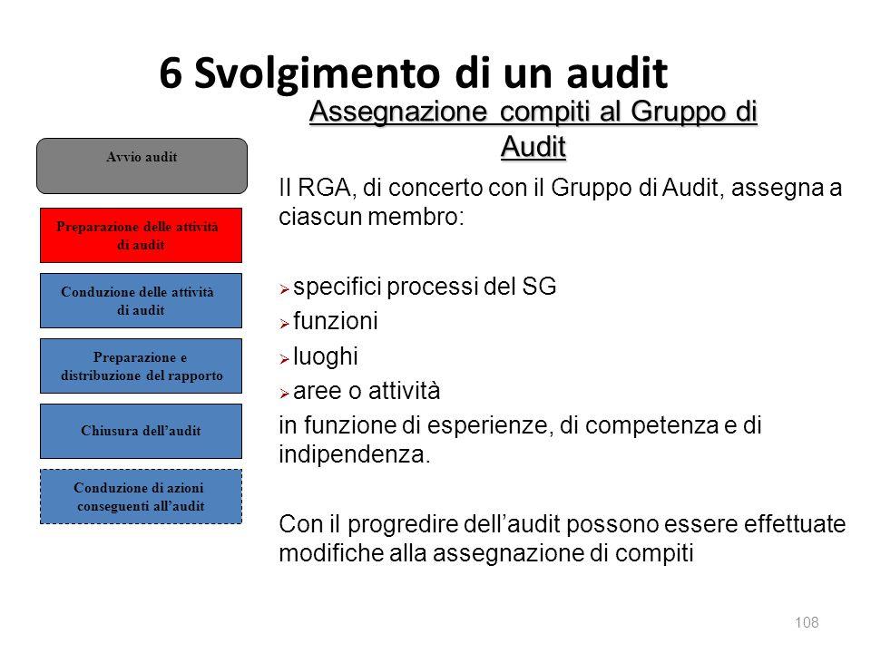 6 Svolgimento di un audit 108 Assegnazione compiti al Gruppo di Audit Il RGA, di concerto con il Gruppo di Audit, assegna a ciascun membro:  specifici processi del SG  funzioni  luoghi  aree o attività in funzione di esperienze, di competenza e di indipendenza.