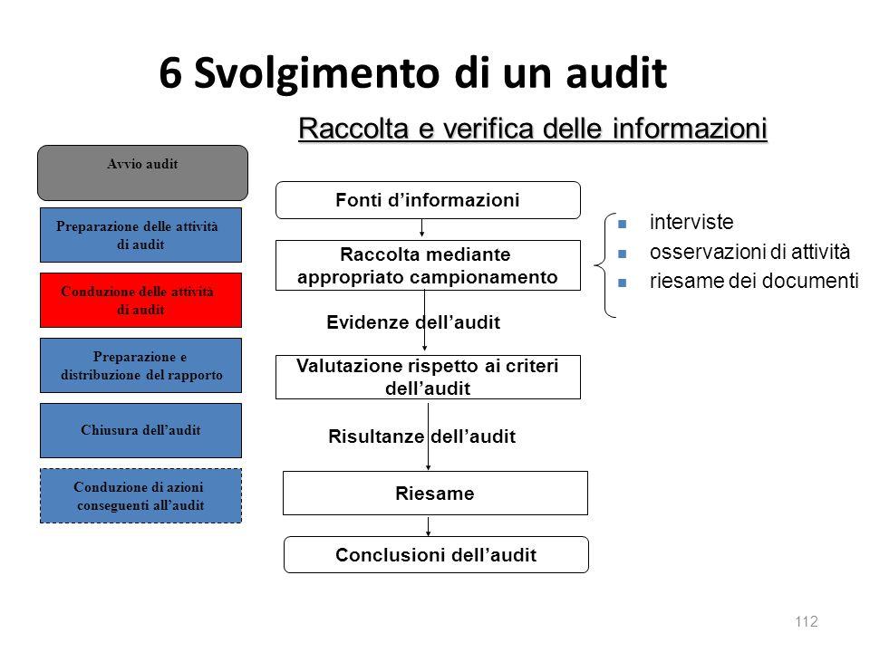6 Svolgimento di un audit 112 Raccolta e verifica delle informazioni Fonti d'informazioni Raccolta mediante appropriato campionamento Evidenze dell'audit Valutazione rispetto ai criteri dell'audit Risultanze dell'audit Riesame Conclusioni dell'audit interviste osservazioni di attività riesame dei documenti Conduzione di azioni conseguenti all'audit Preparazione delle attività di audit Preparazione e distribuzione del rapporto Chiusura dell'audit Conduzione delle attività di audit Avvio audit
