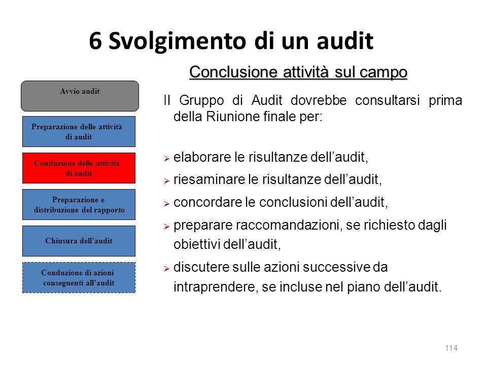 6 Svolgimento di un audit 114 Conclusione attività sul campo Il Gruppo di Audit dovrebbe consultarsi prima della Riunione finale per:  elaborare le risultanze dell'audit,  riesaminare le risultanze dell'audit,  concordare le conclusioni dell'audit,  preparare raccomandazioni, se richiesto dagli obiettivi dell'audit,  discutere sulle azioni successive da intraprendere, se incluse nel piano dell'audit.