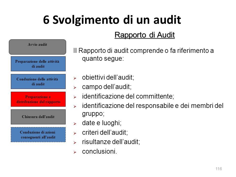 6 Svolgimento di un audit 116 Rapporto di Audit Il Rapporto di audit comprende o fa riferimento a quanto segue:  obiettivi dell'audit;  campo dell'audit;  identificazione del committente;  identificazione del responsabile e dei membri del gruppo;  date e luoghi;  criteri dell'audit;  risultanze dell'audit;  conclusioni.