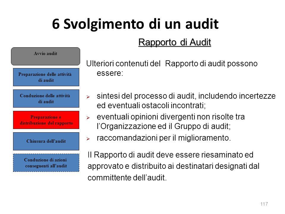6 Svolgimento di un audit 117 Rapporto di Audit Ulteriori contenuti del Rapporto di audit possono essere:  sintesi del processo di audit, includendo incertezze ed eventuali ostacoli incontrati;  eventuali opinioni divergenti non risolte tra l'Organizzazione ed il Gruppo di audit;  raccomandazioni per il miglioramento.