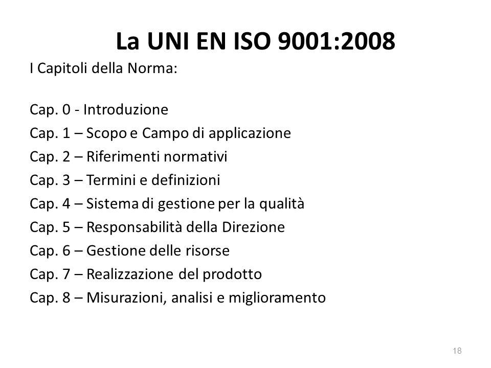 La UNI EN ISO 9001:2008 I Capitoli della Norma: Cap.
